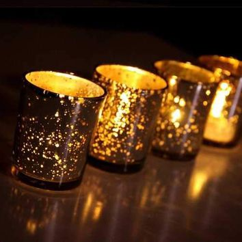 Mercury Glass Tea Cup Shape Candle Holders