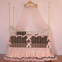 JoJo Crib Bedding | Chocolate and Pink Baby Bedidng