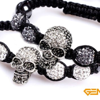 bracelet: 10mm white shining crystal ball 4 beads & man skull bracelet punk style bracelet for party for gift ! Hot Item !