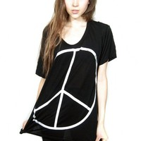 Peace sign print shouchy shirt Free Size