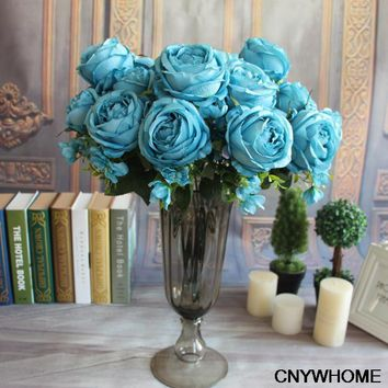 13 Heads Royal Classical Artificial Silk Rose Peony Bouquet Home Wedding BIg Decorative Flowers Wedding Party Decor Decoration