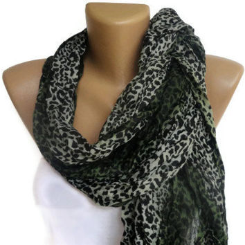 green leopard cheetah print scarf , women accessories