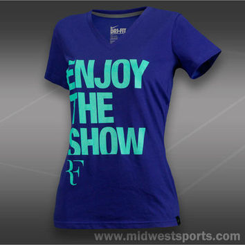Nike RF Enjoy the Show Tee Shirt Womens Light Concord 627088 400