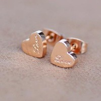Love and Love Titanium Steel Earrings by forevervintage on Zibbet