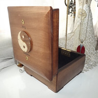 Studded Yin Yang Disc Symbol - LOCKABLE Box. Handmade wooden Box. PERSONALISE the Brass Plaque
