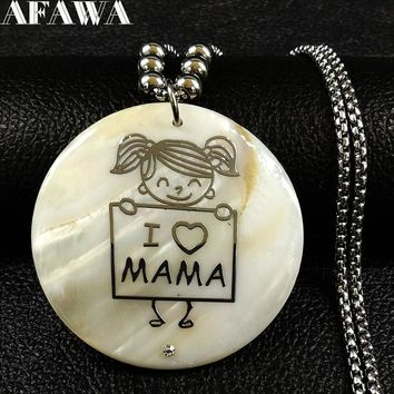 2018 I Love MAMA Stainless Steel Statement Necklace Women Silver Color Shell Necklace Jewelry Gift colgantes mujer moda N18267
