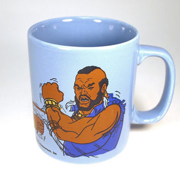 Vintage Mr. T coffee or tea cup mug. Character from the A-Team TV series. Staffordshire Kiln Craft England circa 1984.