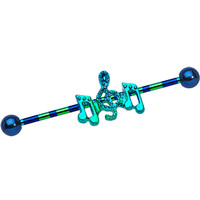 Blue Anodized Titanium Aqua Dancing Music Notes Industrial Barbell | Body Candy Body Jewelry