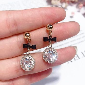 MENGJIQIAO 2018 Korean New Round Crystal Pendant Drop Earrings For Women Fashion Sweet Bowknot Brincos Cute Gift