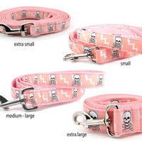 Pink skull leash with lightning bolts : Four sizes to choose from . Skulls and Bolts pink,  five or 6 feet long