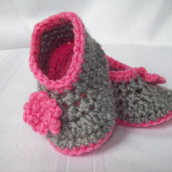 Baby Girl Booties, Crochet Grey and Pink Baby Booties - Newborn to 3 months