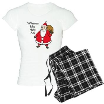 WHERE MY HOES AT? Women's Light Pajamas> FUN CHRISTMAS HOLIDAY CLOTHES> Funny Christmas PJs