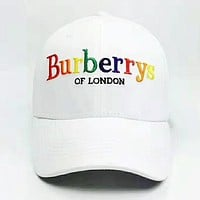 Burberry Fashion New Embroidery Colorful Letter Travel Women Men Cap Hat White