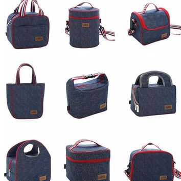 Factory Sale high quality Denim Lunch Bag Kid Bento Box Insulated Pack Picnic Drink Food Thermal Ice Cooler bag bottle bag