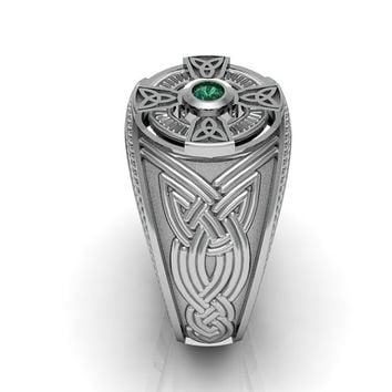 Sterling Silver Emerald Men's Celtic Cross Ring