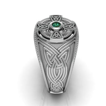 Well-liked Shop Men's Emerald Silver Ring on Wanelo WO19