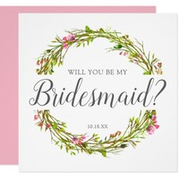 Will you be my Bridesmaid | Cute Feminine Card