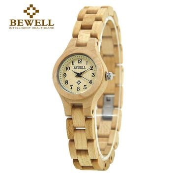 BEWELL Wood Watch Women WristWatch bracelet watches ladies Fashion Wooden Watch for Girls very Small and Simple display 123A