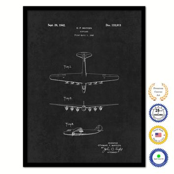 1942 Airplane Vintage Patent Artwork Black Framed Canvas Home Office Decor Great for Pilot Gift