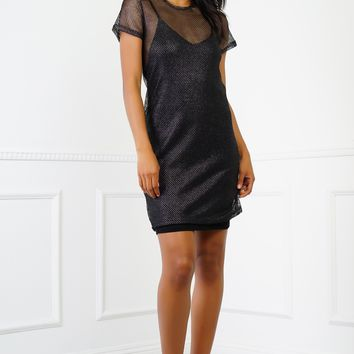Casey Metallic Fishnet Dress - Black
