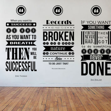 Zig Ziglar, Richard Branson, Eric Thomas Inspiring Wall Decal Quotes 3 piece set Collage