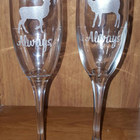Laser Engraved Harry Potter Inspired  Always Stag and Doe Champagne Flutes
