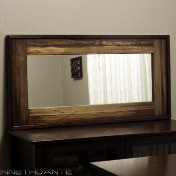 Decorative Wood Mirror Distressed Mantle Long Narrow