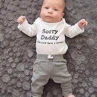 SALE Sorry daddy, pregnancy announcement, fathers day, new baby, gift, daughter, baby shower gift, two bosses, son, parenting, new dad, new