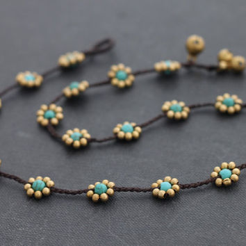 Daisy Turquoise Brass Necklace