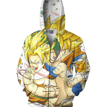 Goku and Shenron Zip-Up Hoodie