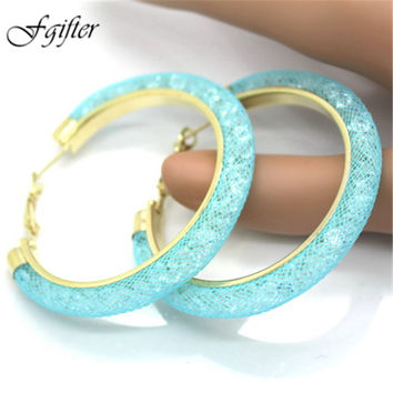 Gold Hoop Earrings with Full Crystal Mesh Chain 2017 New Women Earrings 18 Colors earrings circles jewelry ornaments