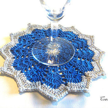 Crochet Coasters, Christmas Gift, Crochet Table Decorations, Set of 6 Blue Coasters, Sottobicchieri Natale