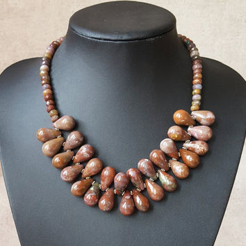 Drop Natural Indian Agate Bead Natural Indian Agate Faceted Abacus Disc Flower Spacer Necklace