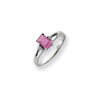 0.024 Ct  14k White Gold 6x4mm Emerald Cut Pink Sapphire Diamond Ring I1 Clarity and G/I Color