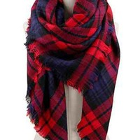 Plaid Blanket Scarf, Red