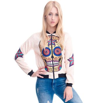 Sugar Skull Mexican Dia De Los Muertos Skull Bomber Jacket Long Sleeve Coat