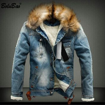 BOLUBAO Brand Men's Denim Jacket 2018 New Autumn Winter Warm Thick Denim Jackets Men's Denim Coat Outerwear Mens Clothing