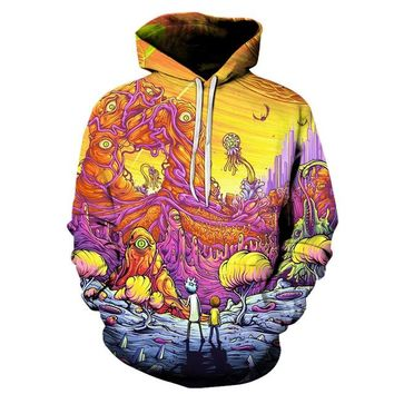 Rick And Morty Trippy Alien Planet Sweatshirt Hoodie