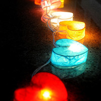 Love heart mulberry paper string light hand made light bed room living room decoration patio