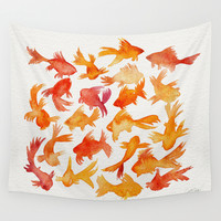 Goldfish Wall Tapestry by Cat Coquillette