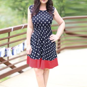 Dot Printed Above Knee Loose Party Dress