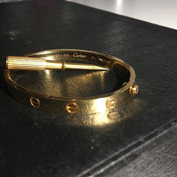 Cartie Love Bracelet 18 k yellow gold With Signature , Screwdriver. Size 17 .