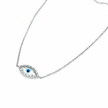 .925 Sterling Silver Cubic Zirconia Evil Eye Pendant Necklace 18 Inches