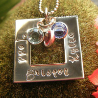 Hand Stamped Jewelry  Personalized Jewelry Square Birthstone Necklace