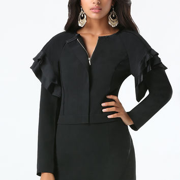 bebe Womens Flutter Sleeve Jacket Black