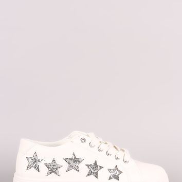 Bamboo Glitter Stars Accent Lace Up Sneaker