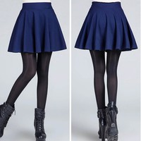 Sexy Women's Stretch High Waist Plain Skater Flared Pleated Casual Cotton Mini short Skirt 2016 Fashion