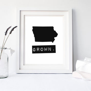 Iowa Grown Home State Print, Custom Map, personalize, typography, Hometown Heart, Typewriter style, stamp, black and white hometown map 8x10