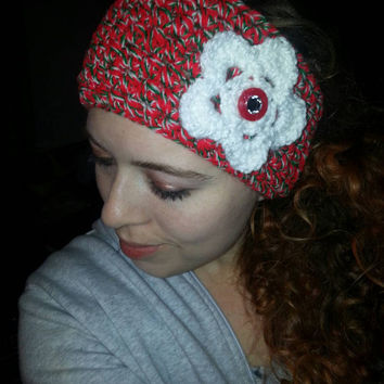 Adult small Christmas Holiday earwarmer with flower