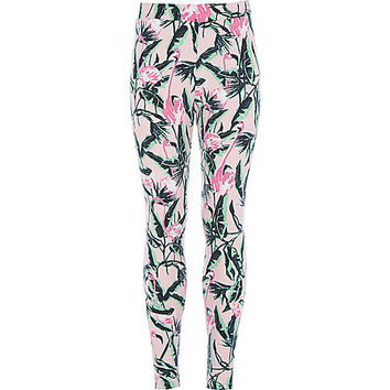 River Island Girls pink flamingo print leggings